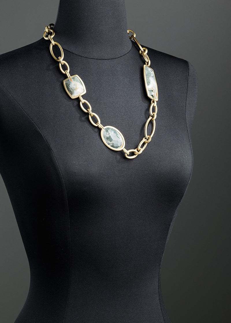 Ocean jasper chain link necklace brass - Darby Scott