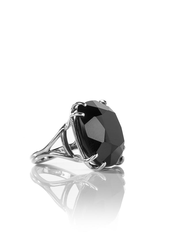 Black Onyx Sterling Ring, 34 Carat Cushion Cut - Darby Scott