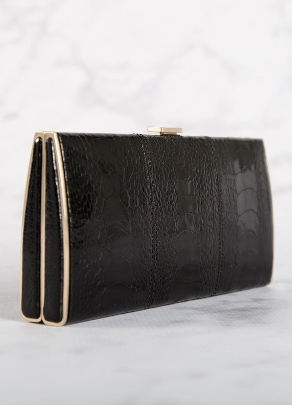 Black Ostrich Leg Box Wallet with Gold Frame, Side View - Darby Scott--alternate
