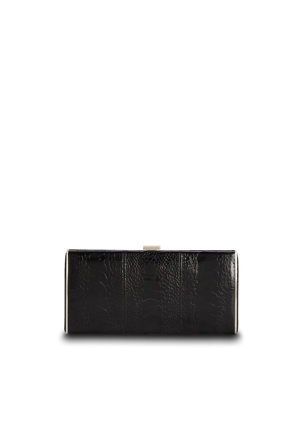Black Ostrich Leg Box Wallet with Gold Frame, Front View - Darby Scott