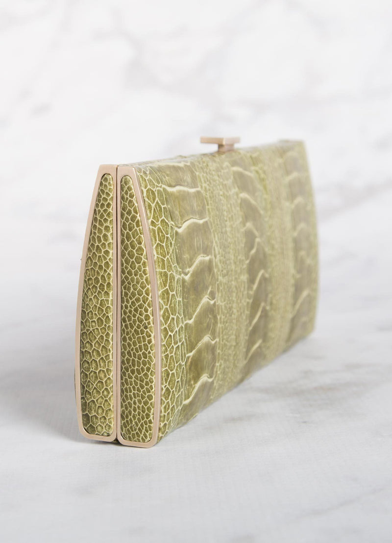 Green Ostrich Leg Box Wallet, Side View - Darby Scott