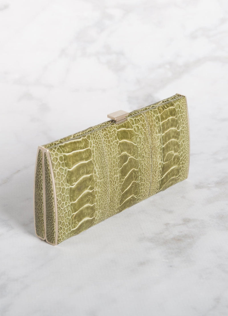 Green Ostrich Leg Box Wallet, Above View - Darby Scott