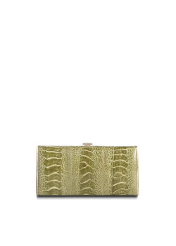Green Ostrich Leg Box Wallet, Front View - Darby Scott