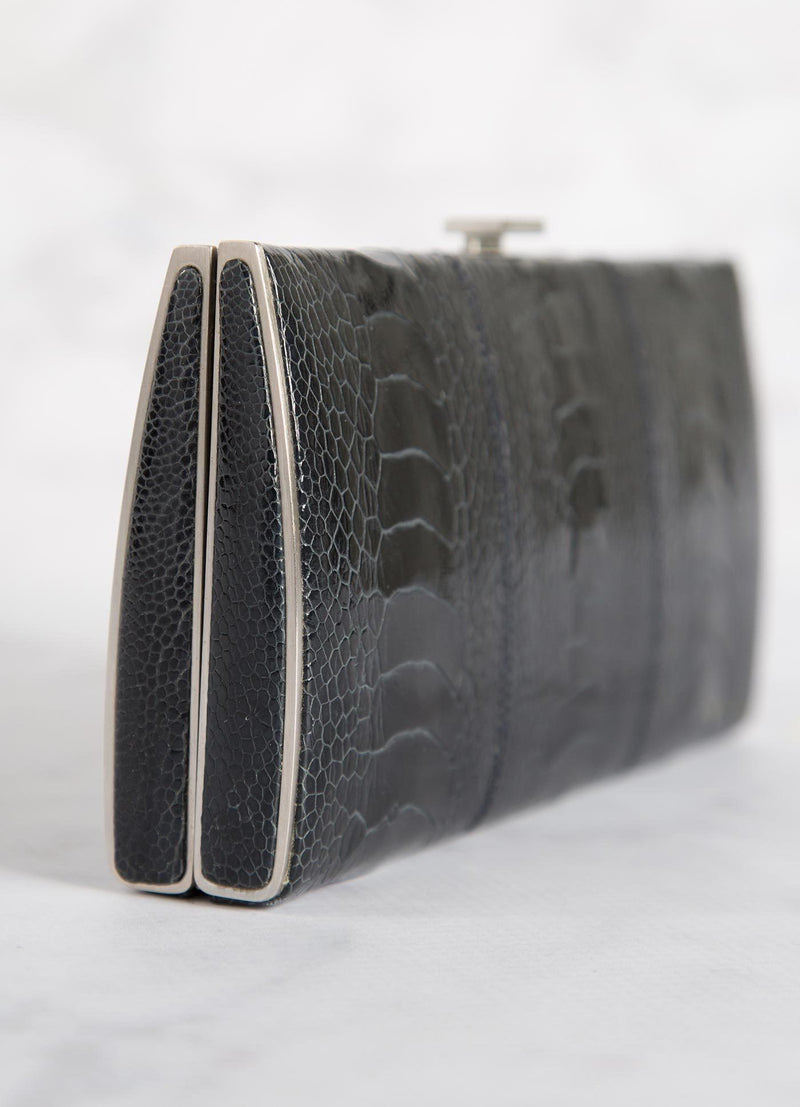 Navy Ostrich Leg Box Wallet, Side View - Darby Scott