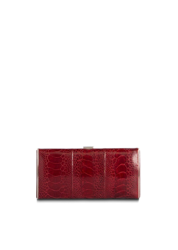 Red Ostrich Leg Box Wallet, Front View - Darby Scott