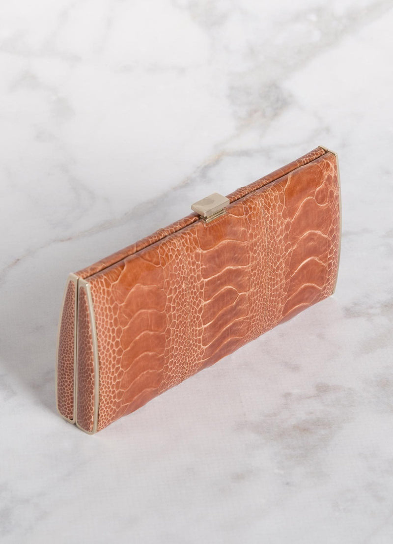 Terracotta Ostrich Leg Box Wallet, Top View - Darby Scott