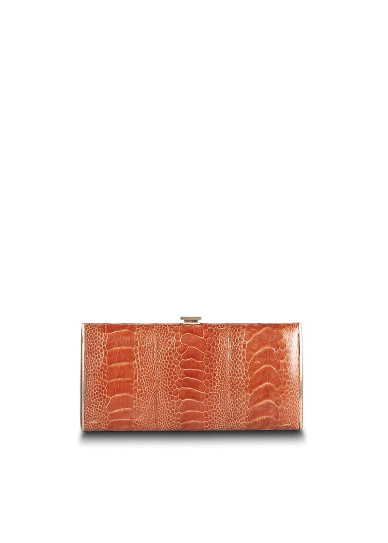 Terracotta Ostrich Leg Box Wallet, Front View - Darby Scott