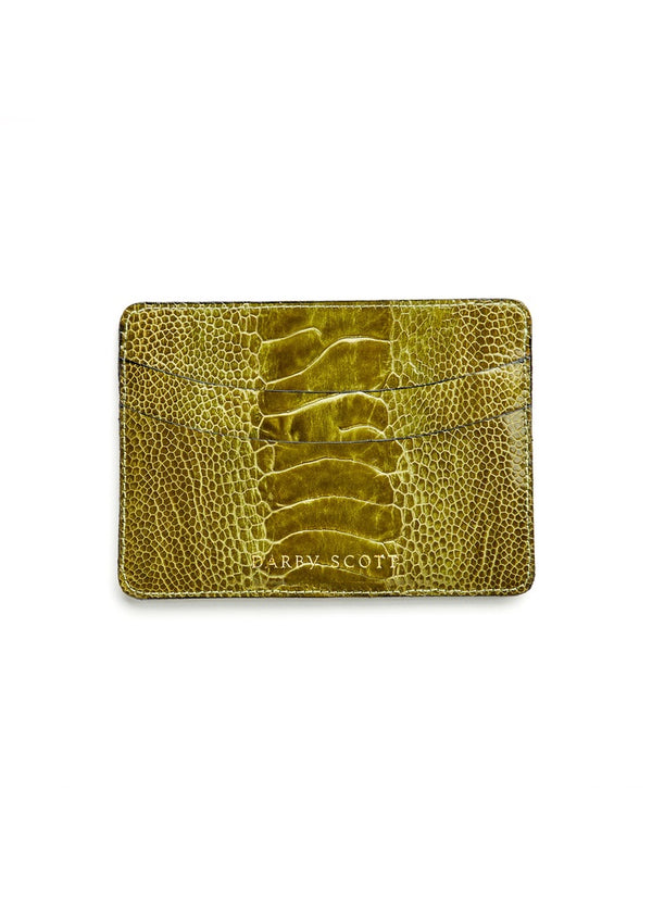 Avocado Green  Ostrich Leg Credit Card  Case - Darby  Scott