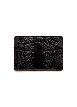 Black Ostrich Leg Credit Card Case - Darby Scott