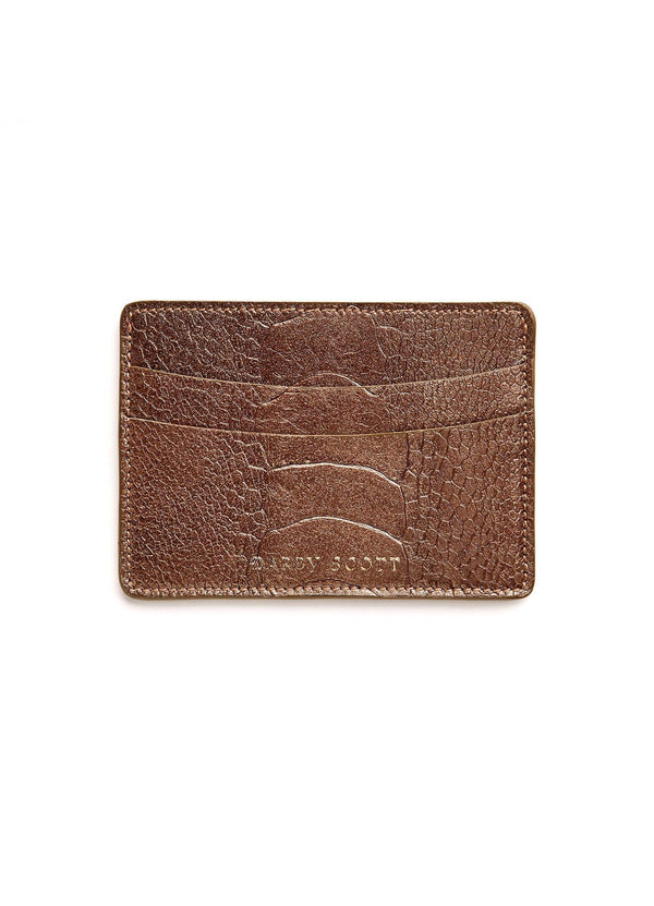 Back View of Bronze Ostrich Leg Credit Card Case - Darby Scott--alternate