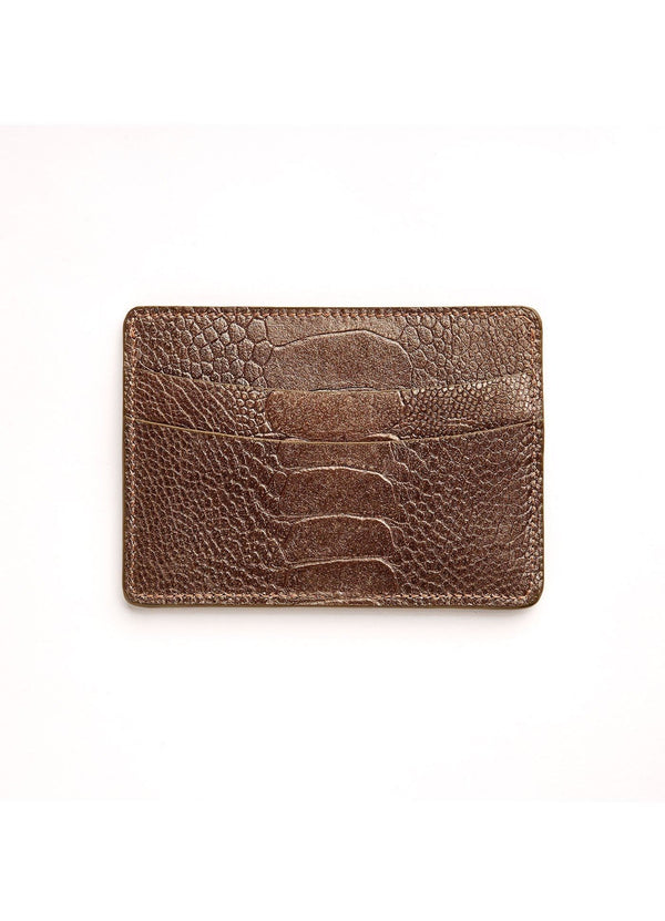 Bronze Ostrich Leg Credit Card Case - Darby Scott