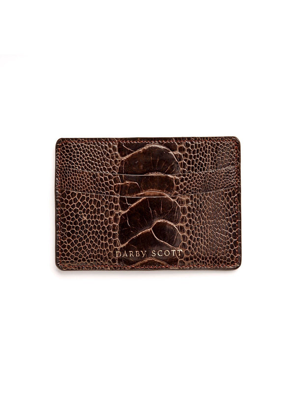 Back View Brown Ostrich Leg Credit Card Case - Darby Scott--alternate