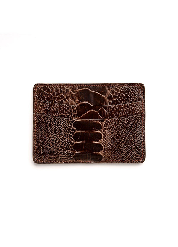 Brown Ostrich Leg Credit Card Case - Darby Scott