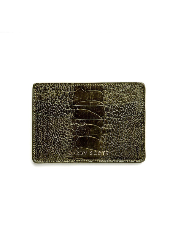 Back View Green Ostrich Leg Credit Card Case - Darby Scott--alternate
