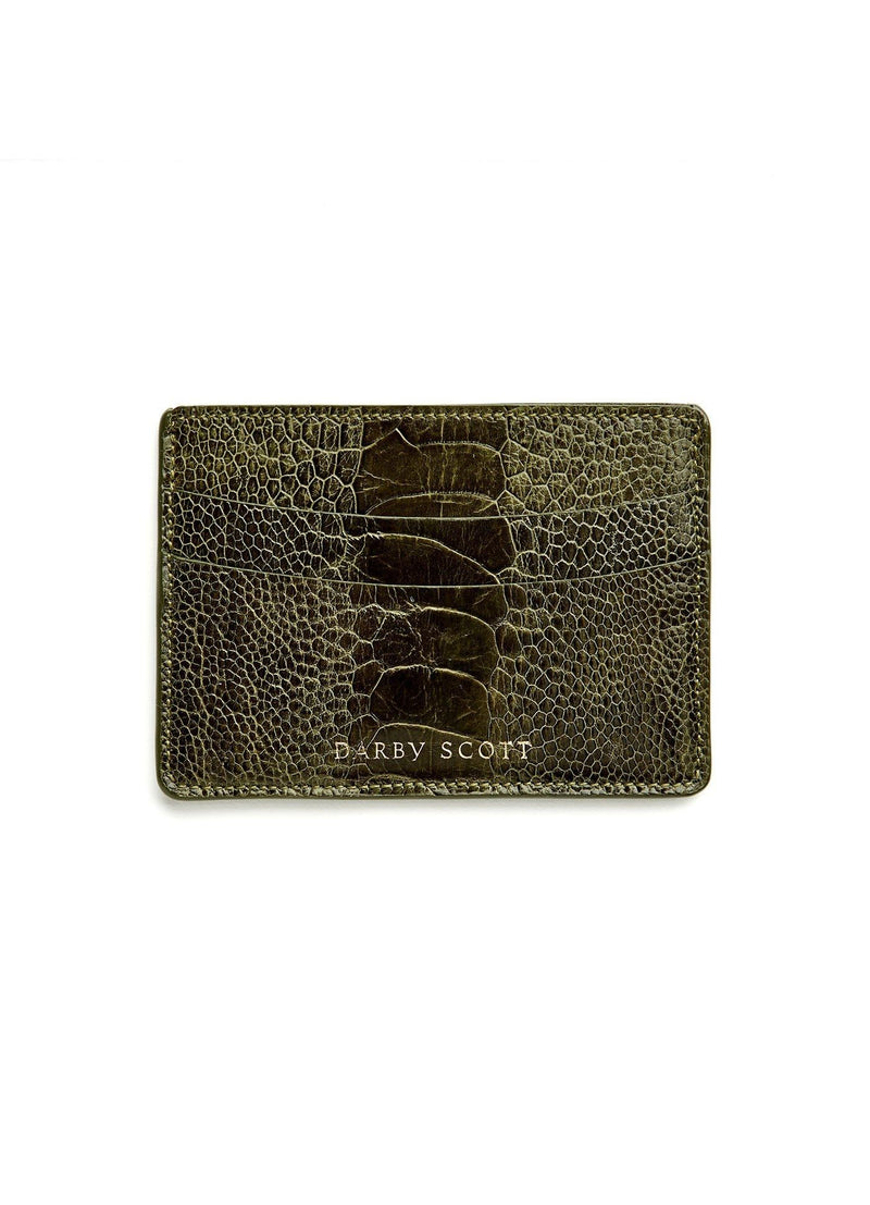 Back View Green Ostrich Leg Credit Card Case - Darby Scott