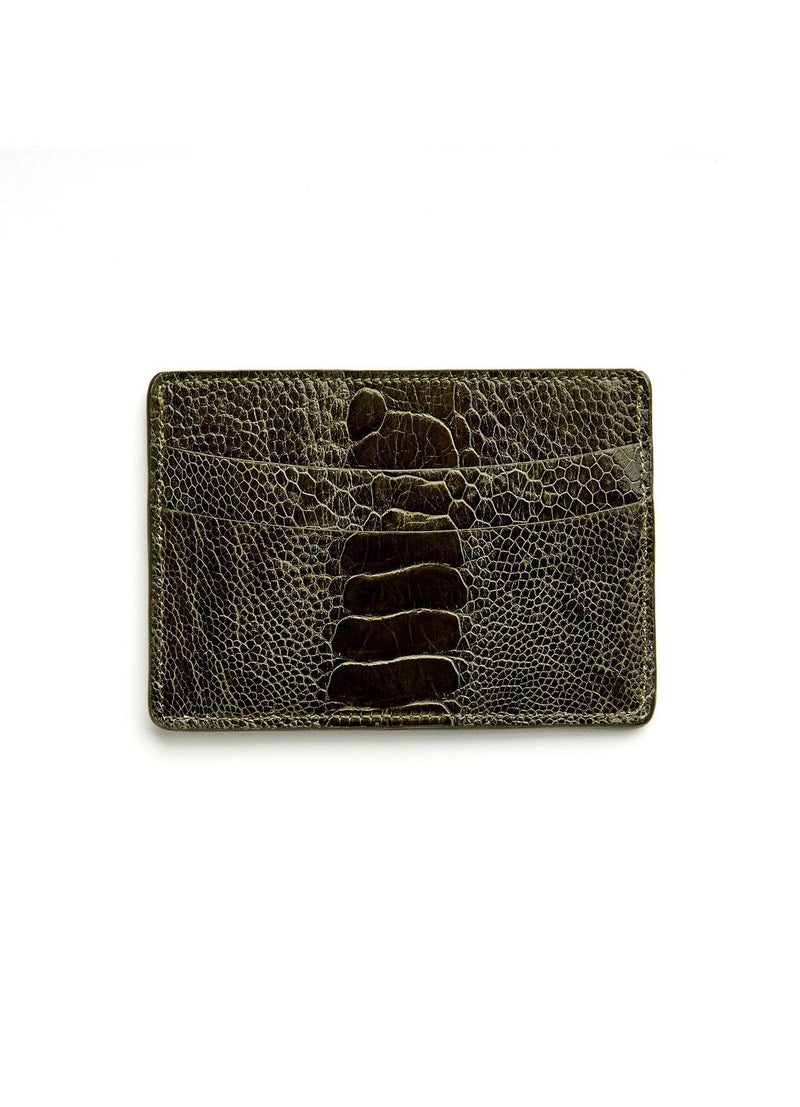 Green Ostrich Leg Credit Card Case - Darby Scott