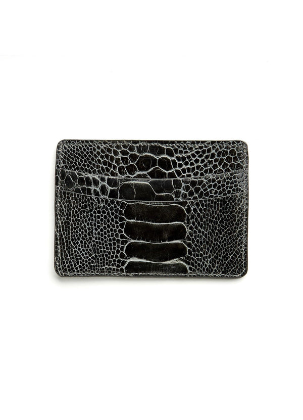Grey Ostrich Leg Credit Card Case - Darby Scott