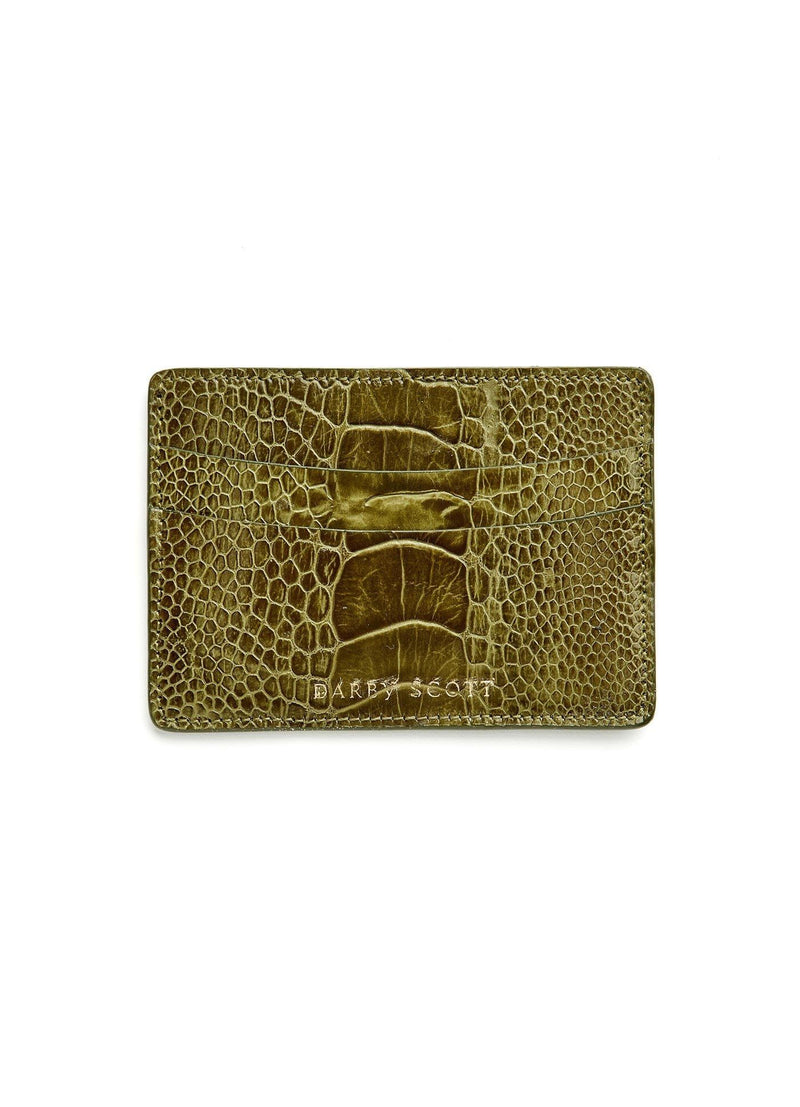 Back view of Olive Ostrich Leg Credit Card Case - Darby Scott