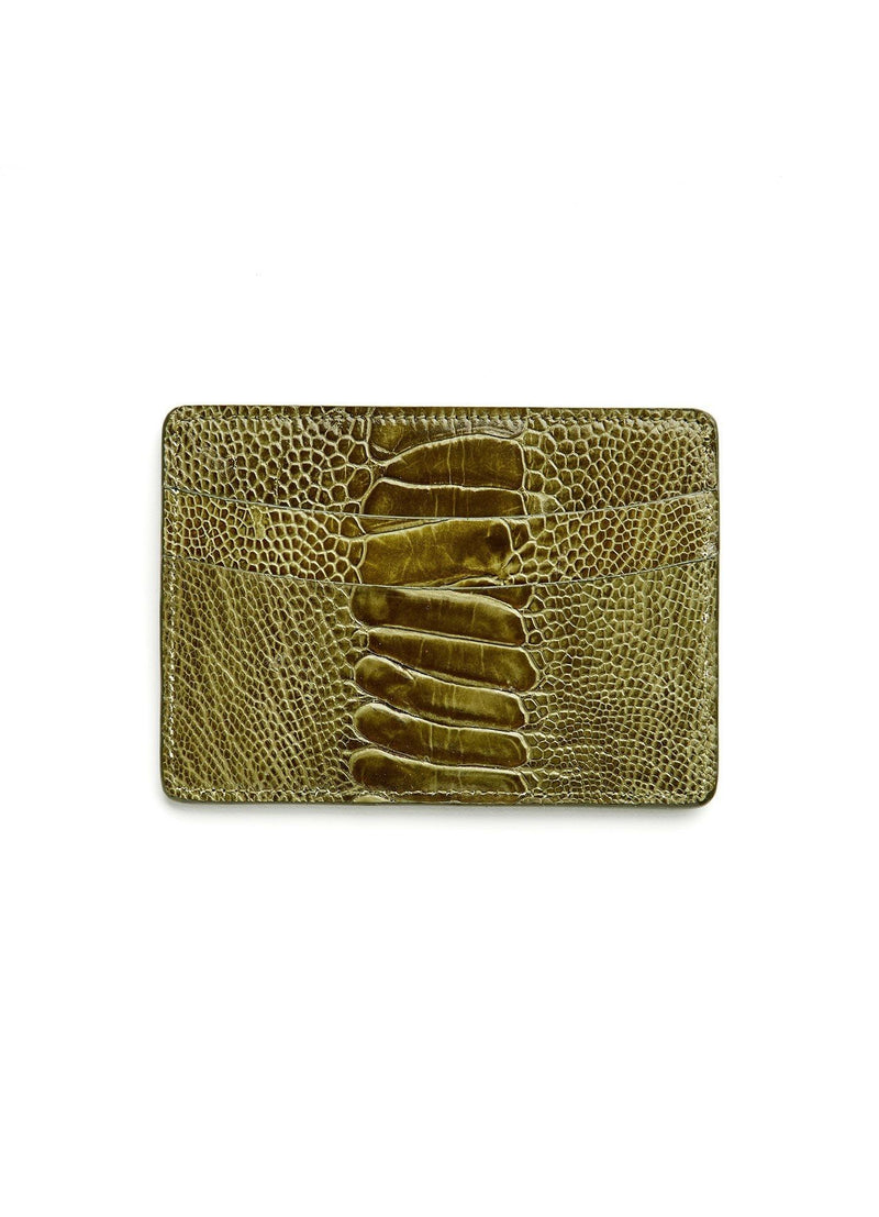 Olive Ostrich Leg Credit Card Case - Darby Scott