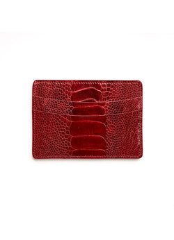 Red Ostrich Leg Credit Card Case - Darby Scott
