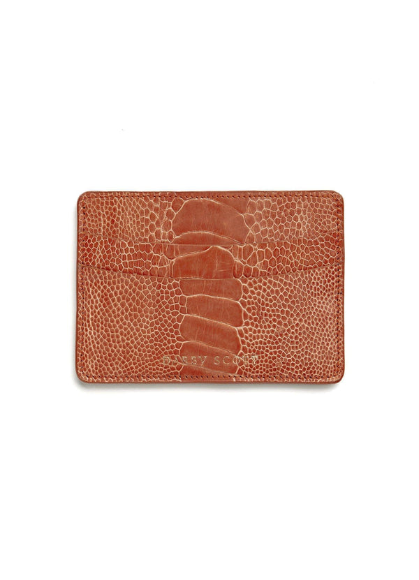 Back View Terracotta Orange Ostrich Leg Credit Card Case - Darby Scott--alternate
