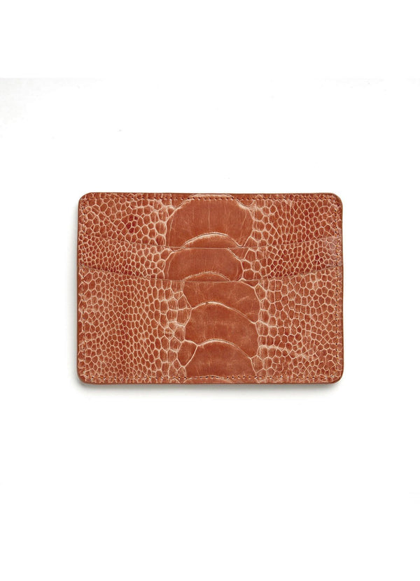 Terracotta Orange Ostrich Leg Credit Card Case - Darby Scott