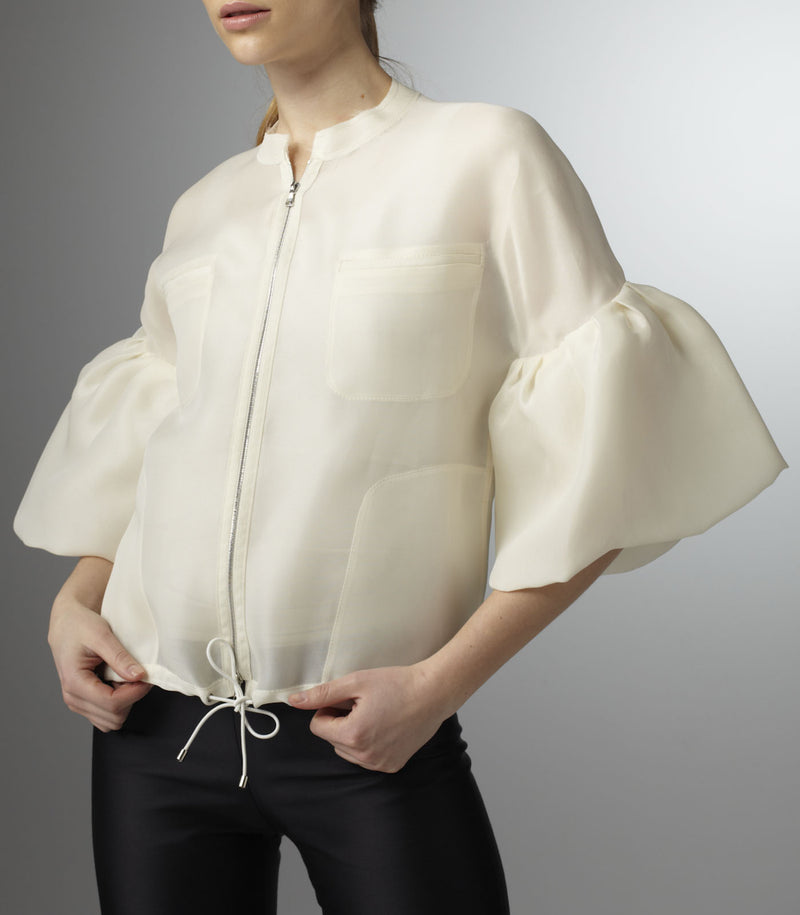 Organza Bomber Jacket with hem gathered on elastic cord - Darby Scott