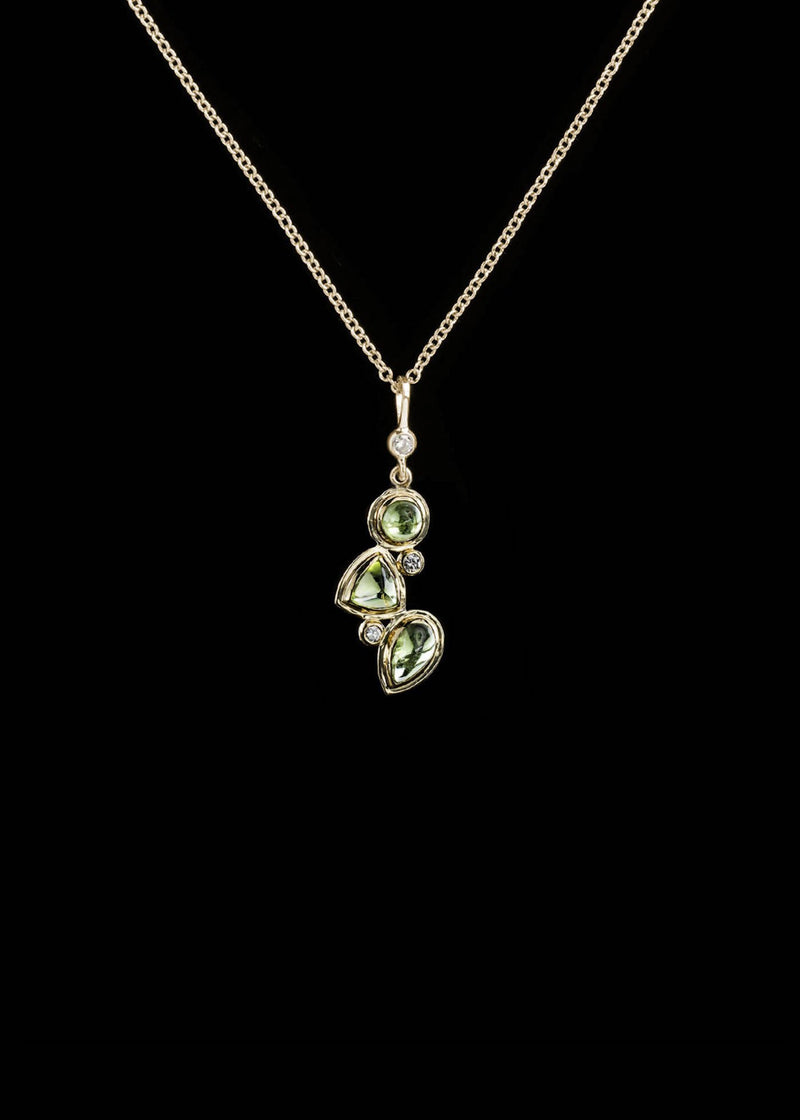 Peridot diamond 14K gold necklace mosaic 3 stone - Darby Scott