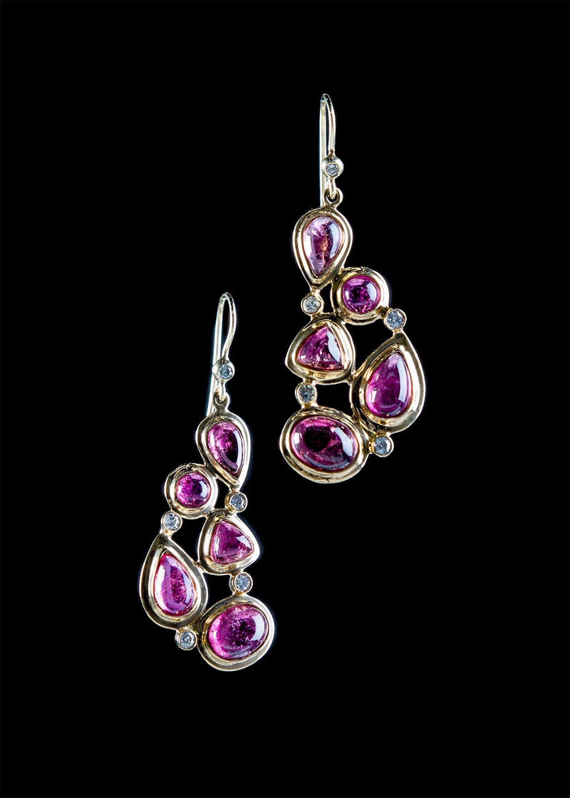 Pink tourmaline diamond 18K gold earring mosaic 5 stone - Darby Scott