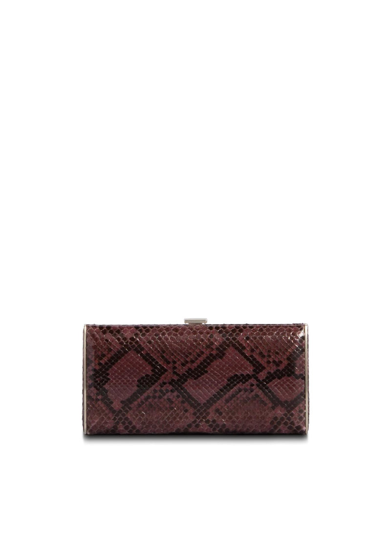 Berry Python Box Wallet, Front View - Darby Scott
