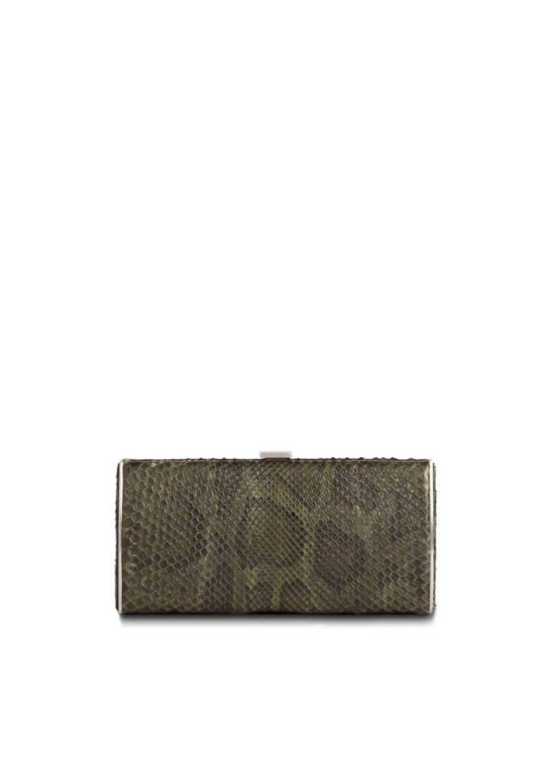 Green Python Box Wallet, front view - Darby Scott