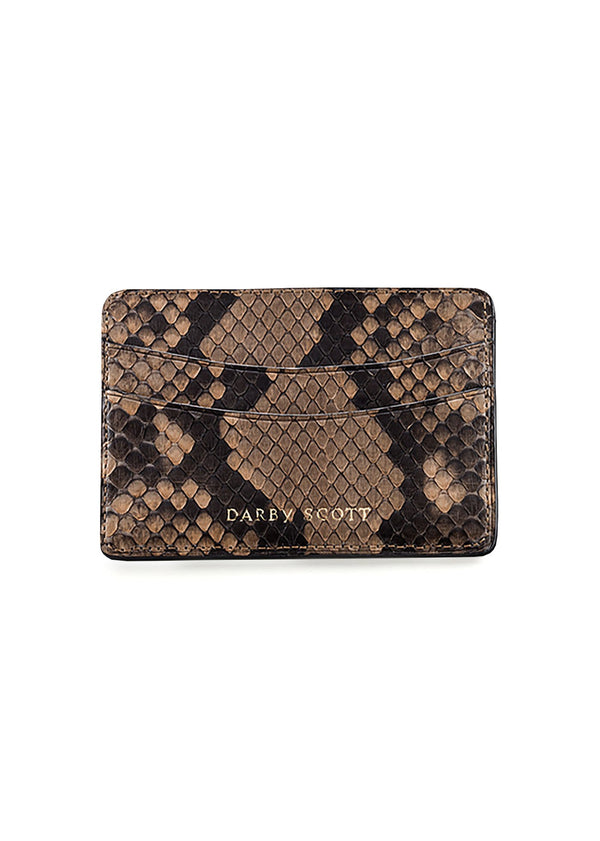 Tan Python Credit Card Case - Darby Scott
