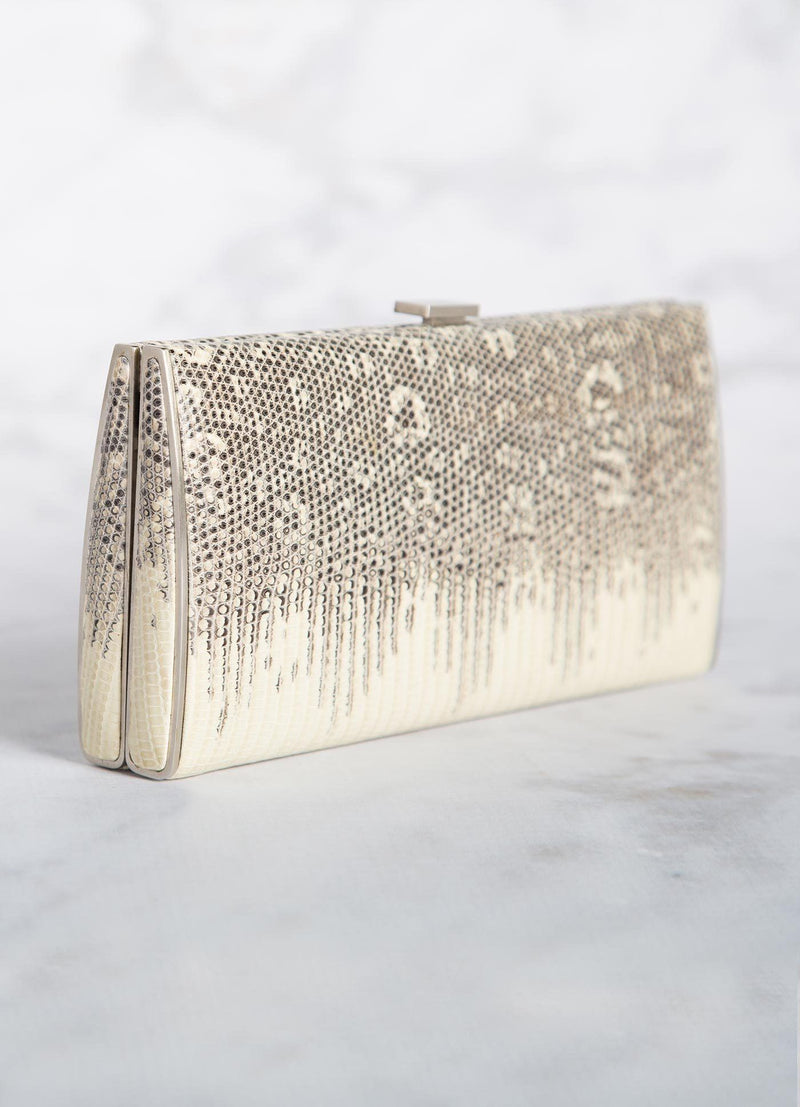 Natural Ring Lizard Box Wallet, Side View - Darby Scott