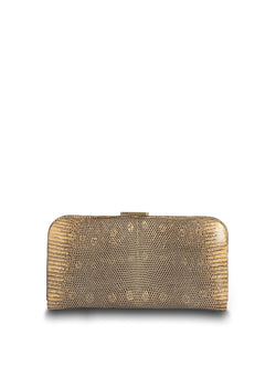 Front view of Apricot Ring Lizard Slide Lock Wallet - Darby Scott