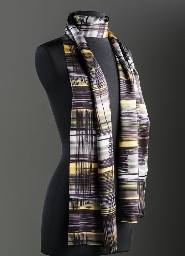 Abstract Plaid Silk in purple, yellow, black and more - Darby Scott--alternate