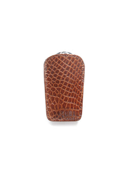 Cognac Crocodile Case with a folding shoehorn - Darby Scott
