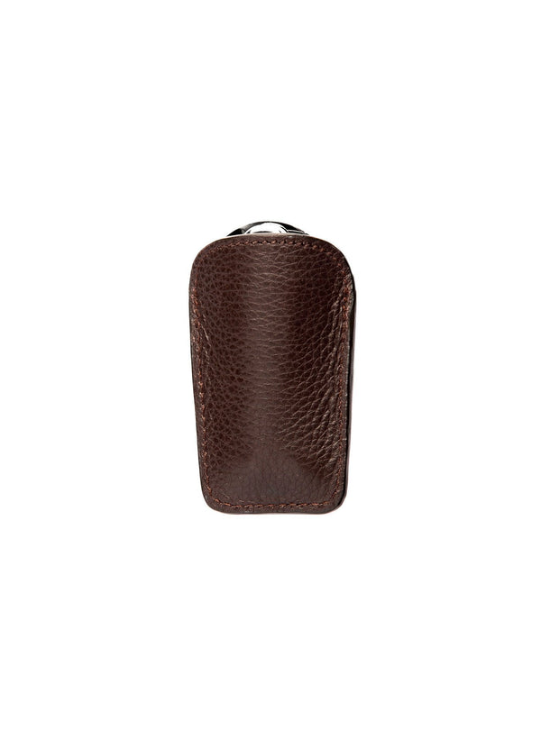 Brown Leather Pouch with Stainless Steel Folding Shoe Horn - Darby Scott