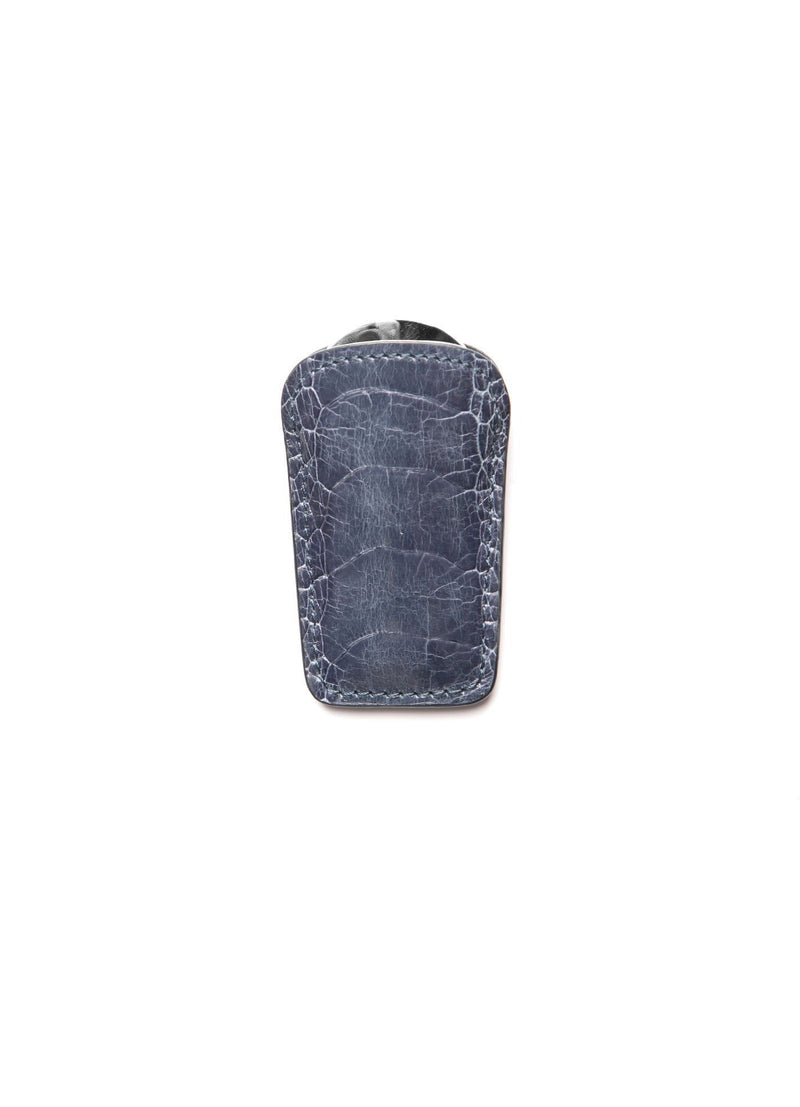 Denim Blue Ostrich Leg Pouch and Stainless Steel Folding Shoe Horn - Darby Scott