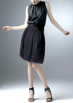 Black Silk Dupioni Bubble Skirt - Darby Scott