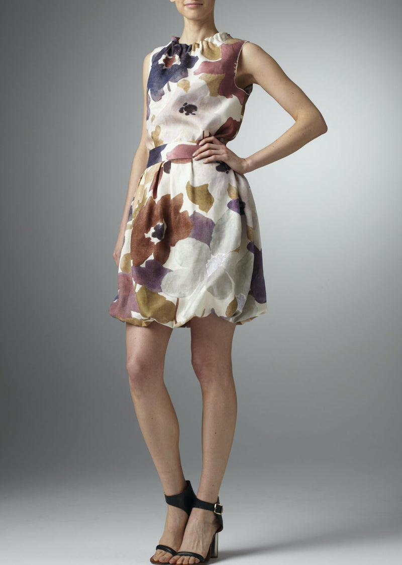 Cream linen with purple floral print bubble skirt - Darby Scott