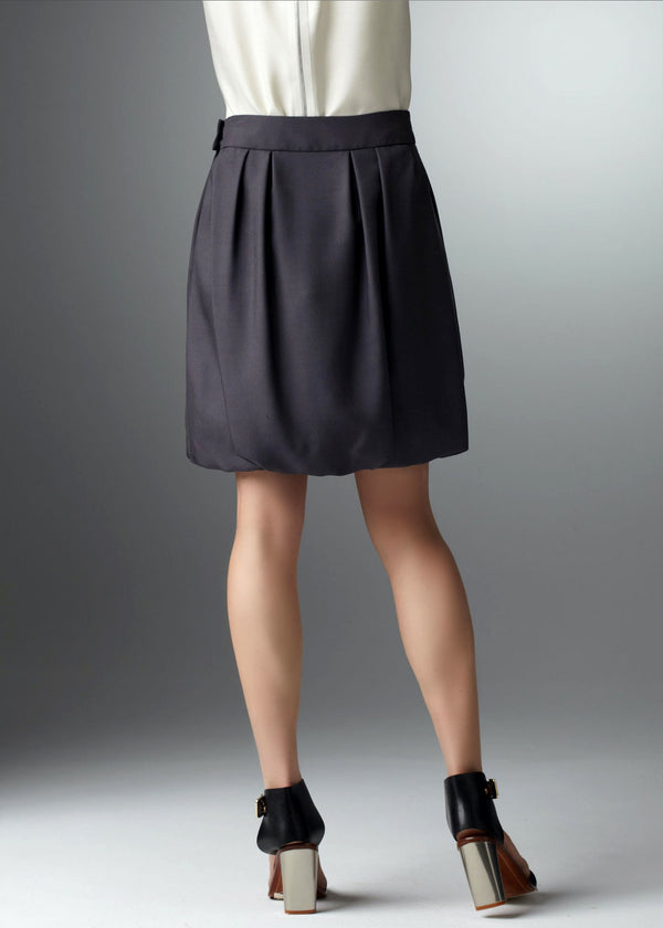 Back of Gunmetal Silk Bubble Skirt - Darby Scott--alternate