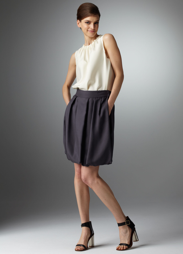 Gunmetal Silk Dupioni Bubble Skirt - Darby Scott