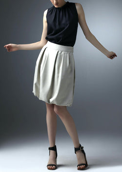 Silver Silk Dupioni Bubble Skirt - Darby Scott