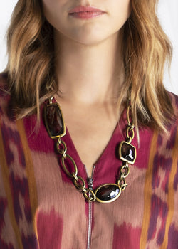 Smokey topaz chain link necklace brass on model - Darby Scott