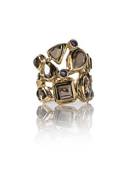 Mosaic Cocktail Ring with Smokey Topaz, Iolite Set in 18K Yellow Gold - Darby Scott