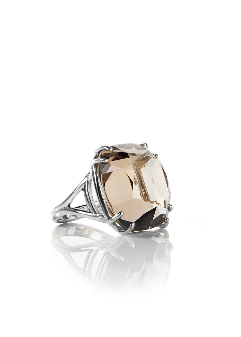 Smokey topaz sterling silver ring 34 carat cushion cut - Darby Scott