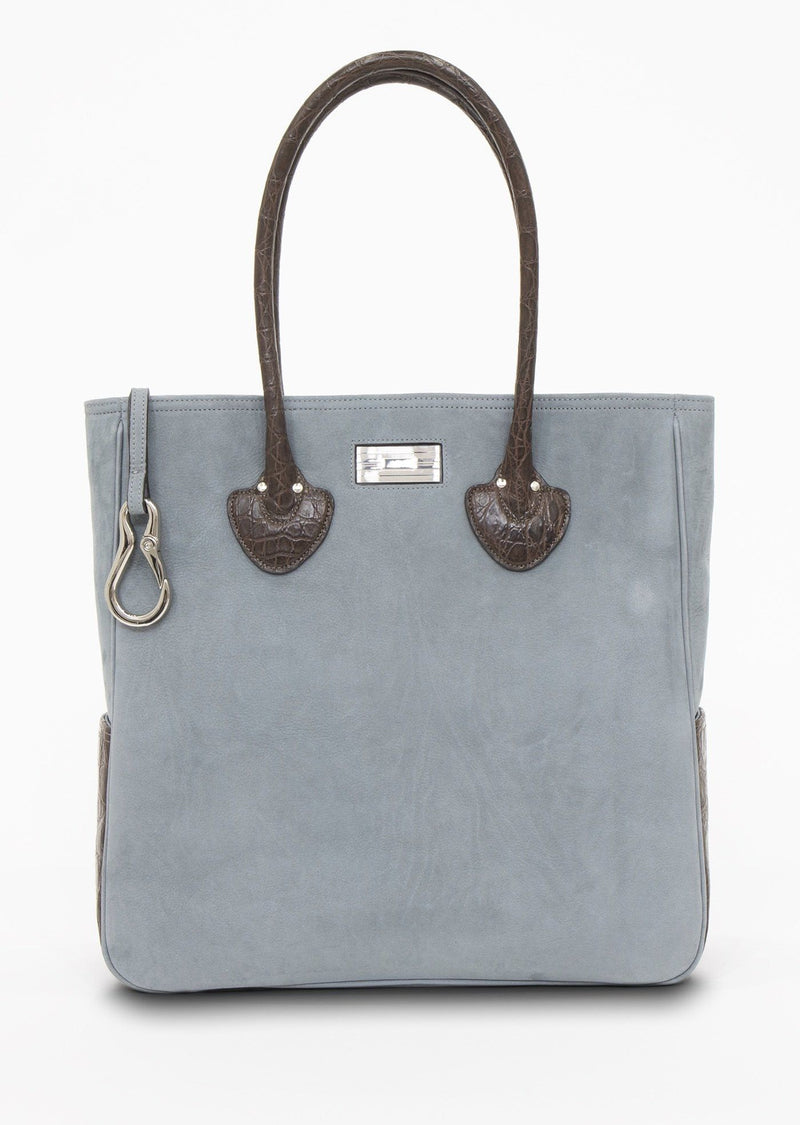 Blue Suede Essex tote With Key-Fob and Sterling Monogram Plate - Darby Scott