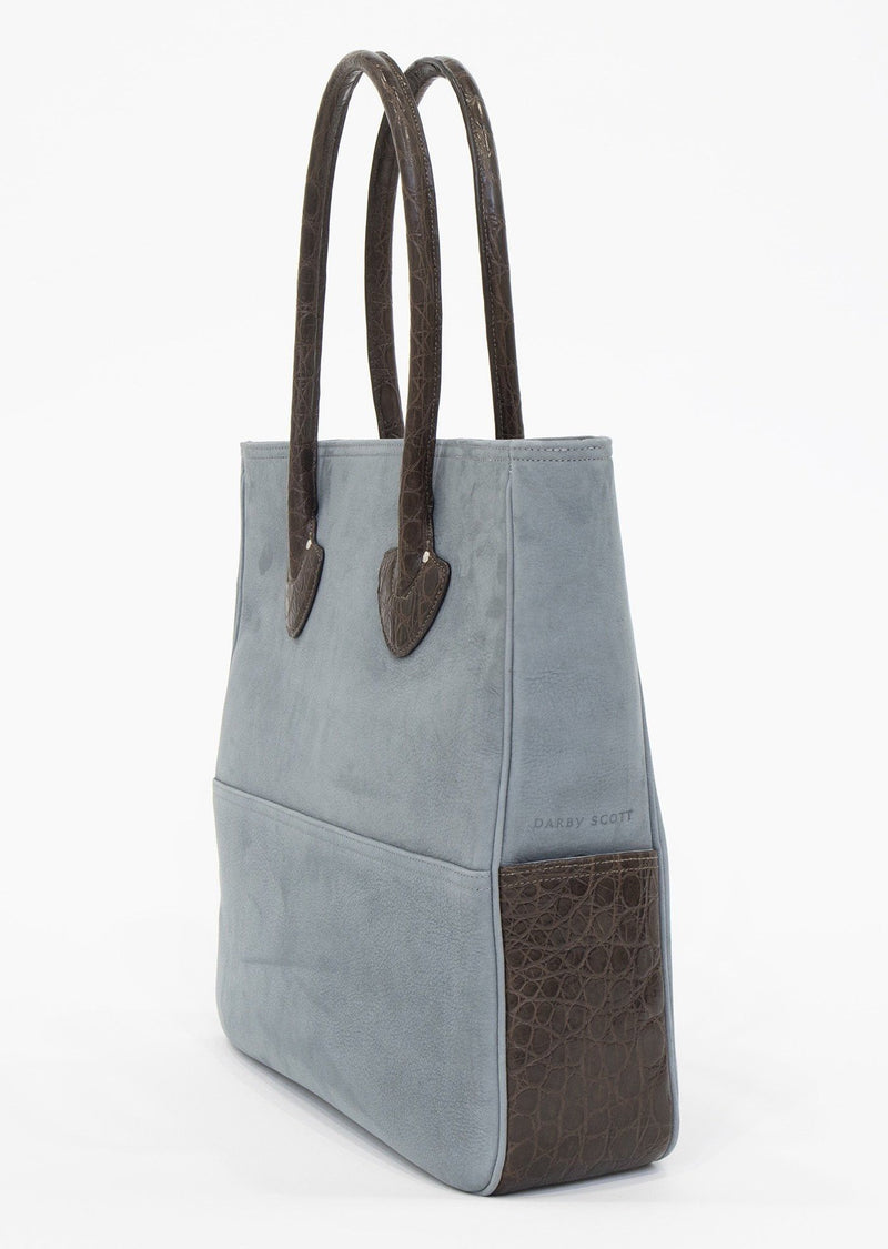 Side view of Denim Suede Essex Tote With Brown Crocodile - Darby Scott