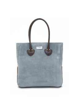 Denim Blue Suede and Brown Crocodile Essex Monogram Tote - Darby Scott