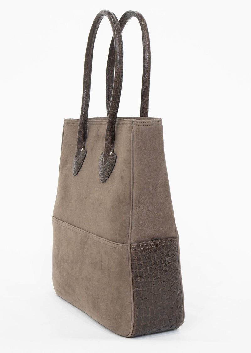 Side View Light Brown Suede and Brown Crocodile Essex Tote - Darby Scott